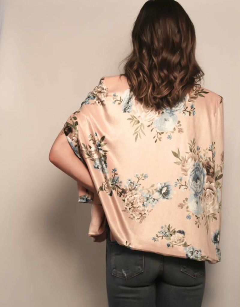 Velvet Floral Print Cape Jacket/ Dusty Rose & Blue