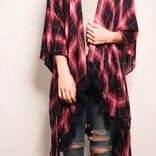 Plaid W/ Back Trim Poncho/ Amethyst