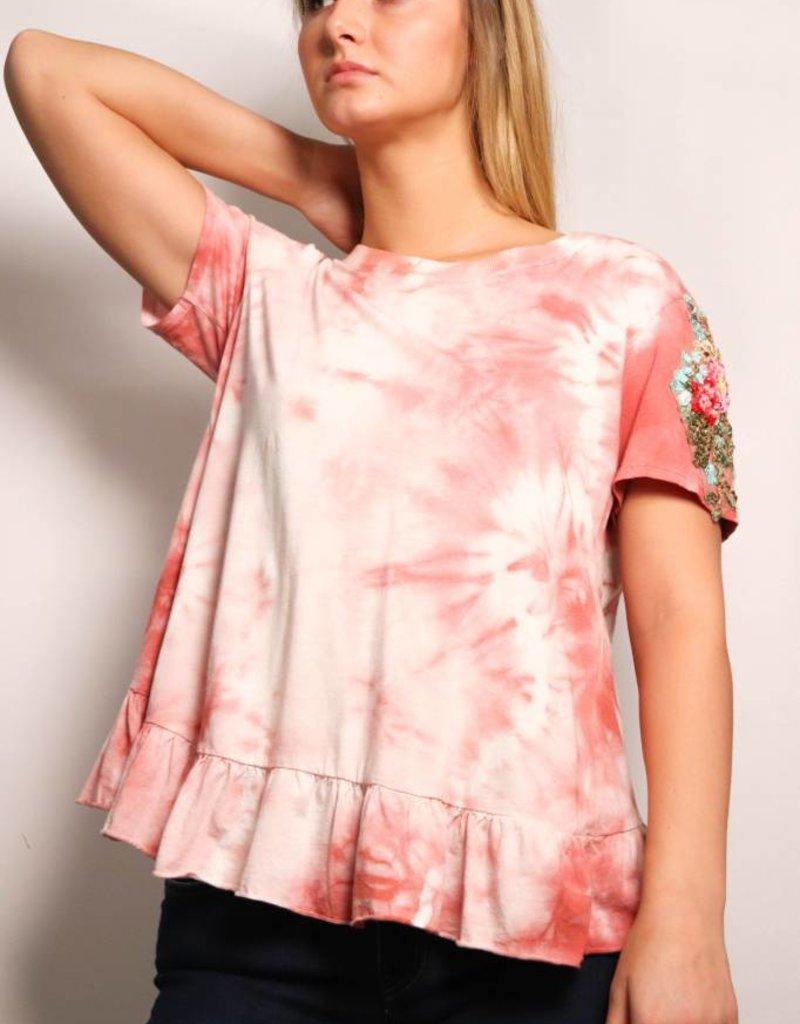 Pink Wash Embroidered Sleeve Tee-Pink Wash