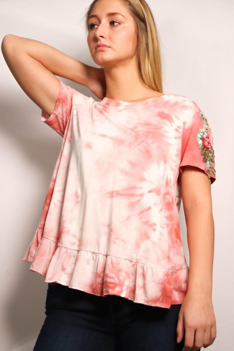 Pink Wash Embroidered Sleeve Tee-Pink Wash