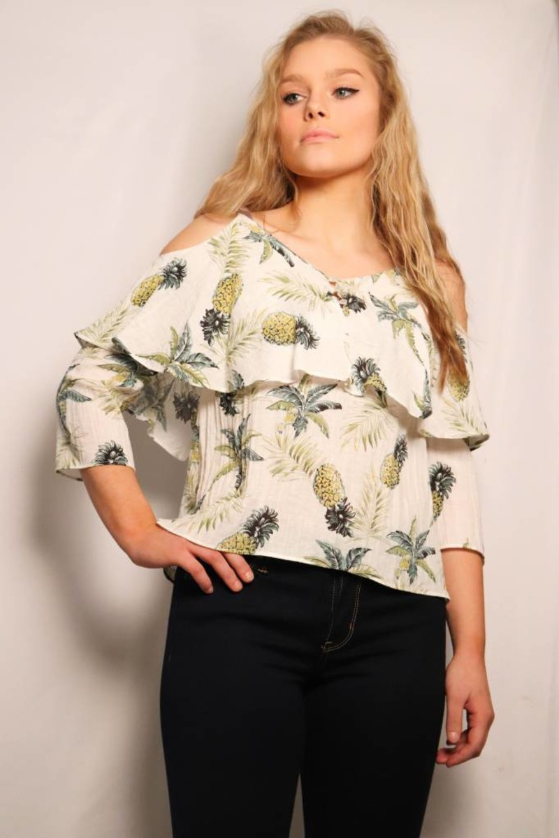 Printed Pineapple Cold Shoulder Top/ Ivory Green Gold