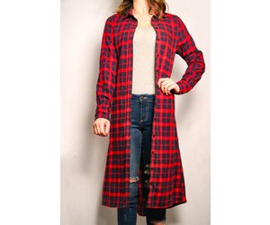 c165f37b Flannel button down duster w/Pockets - Mood Women's Boutique