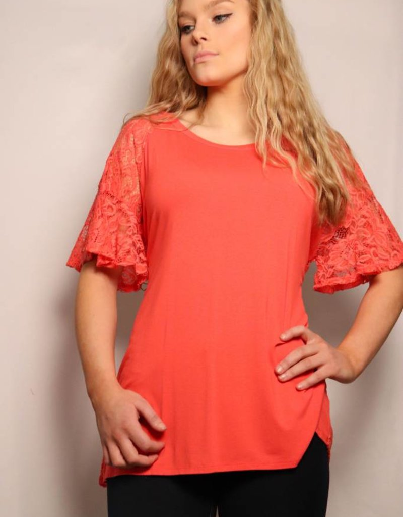 Floral Lace Short Bell Sleeve Top W/ Lace Back/Coral