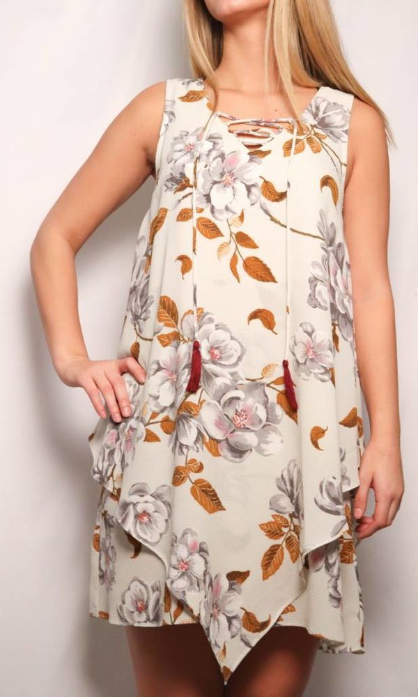Lace Up Front Floral Dress