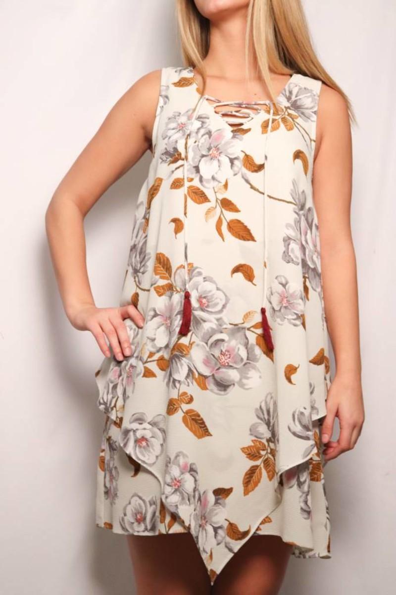 Lace Up Front Floral Dress