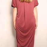 Drop Shoulder Folded Sleeve T-Shirt  Dress
