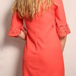 Laser Cut Shift Dress/ Coral