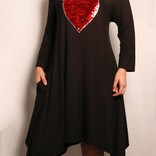 Sequin Heart 3/4 Sleeve Dress / Black