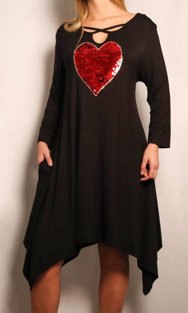 Sequin Heart 3/4 Sleeve Dress