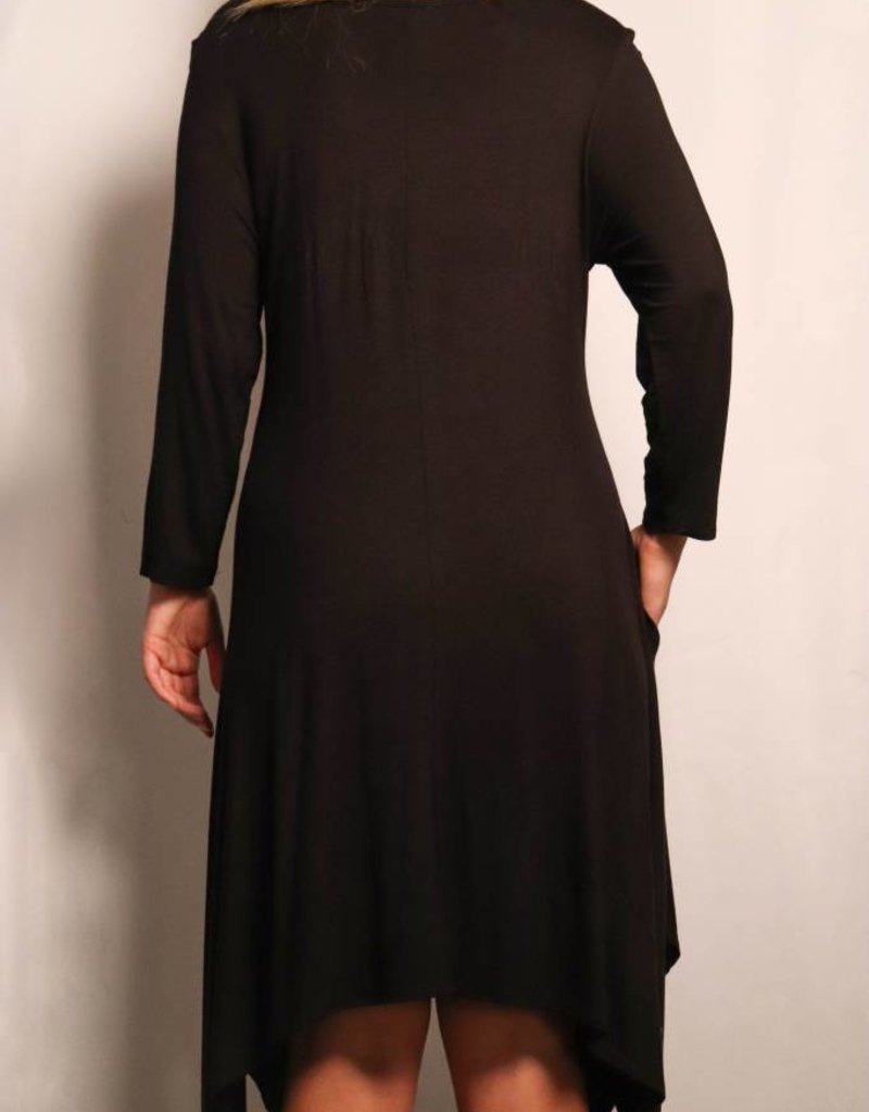 Sequin Heart 3/4 Sleeve Dress / Black