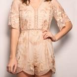 Sheer Floral Lace V-Neck Short Romper W/ Lining/ Nude