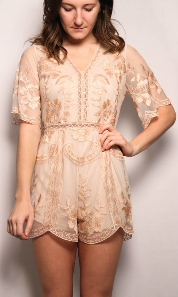 Sheer Floral Lace Romper