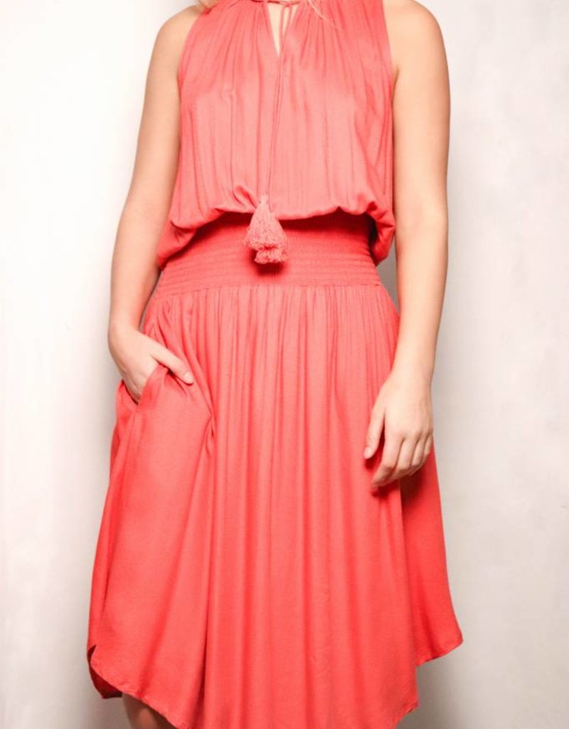 Summer Dress with Smocking/Coral