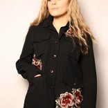 Soft Denim Jacket Rose Embroidery/ Black
