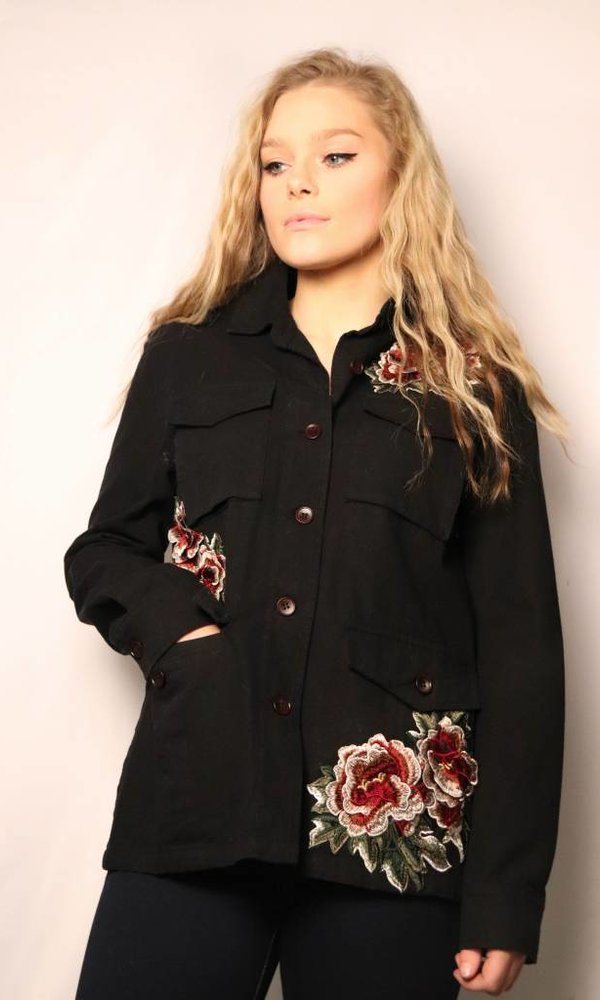 Denim Jacket Rose Embroidery