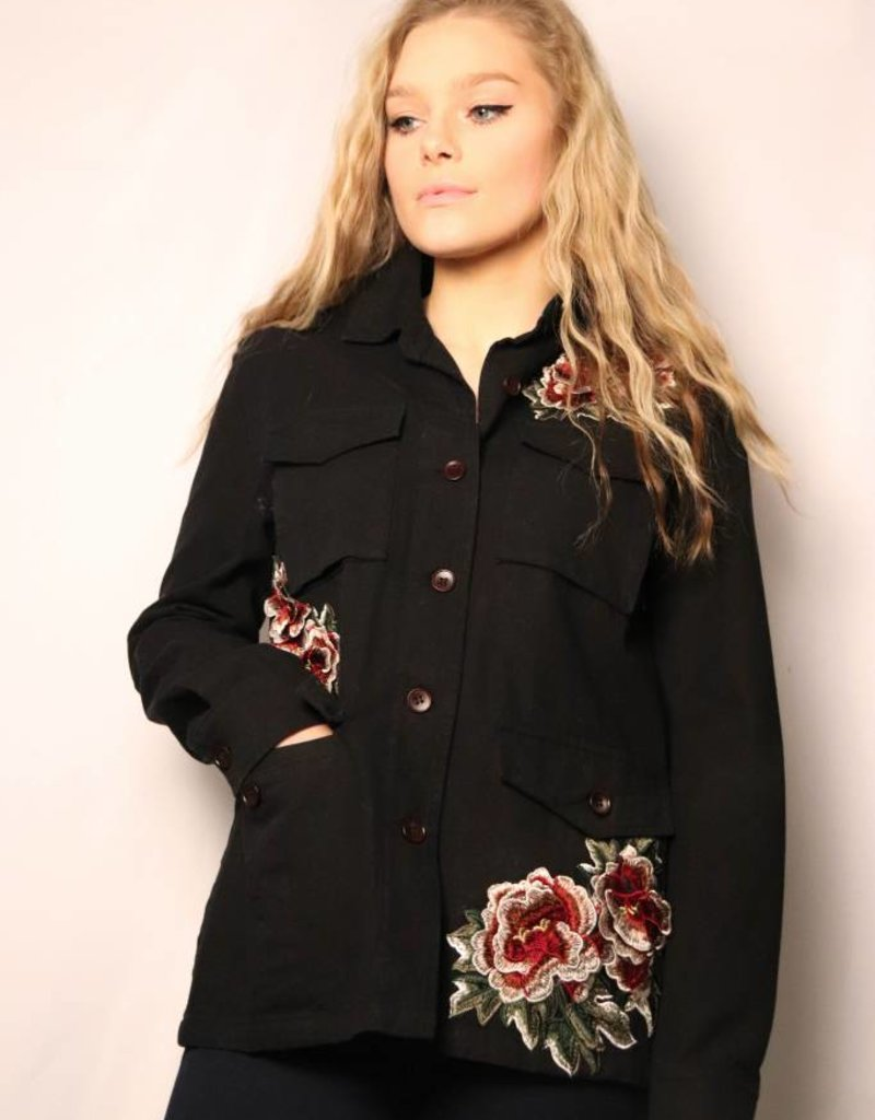 Black Soft Denim Jacket W Rose Embroidery Mood Women S Boutique