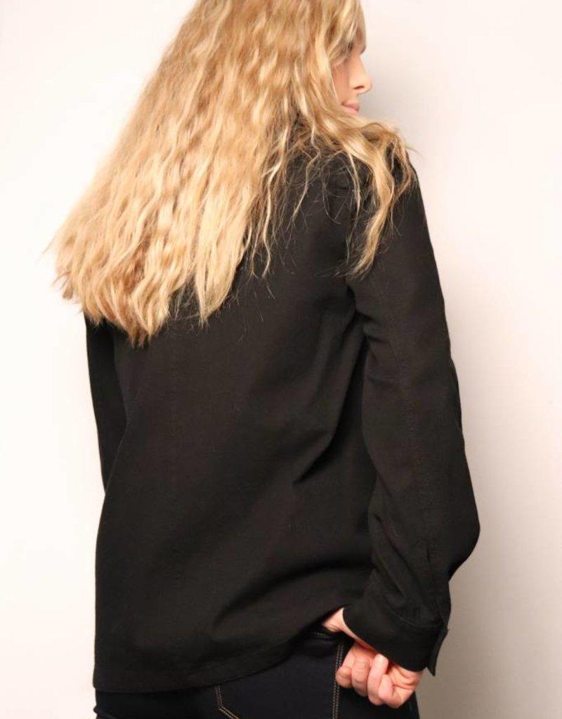 Soft Denim Jacket Rose Embroidery/ Black