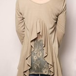 Long Sleeve Back Ruffle Top/ Light Olive