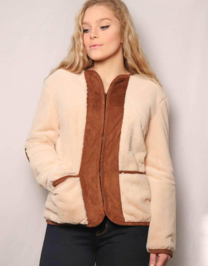 Teddy Bear Fur Jacket/ Cream & Brown