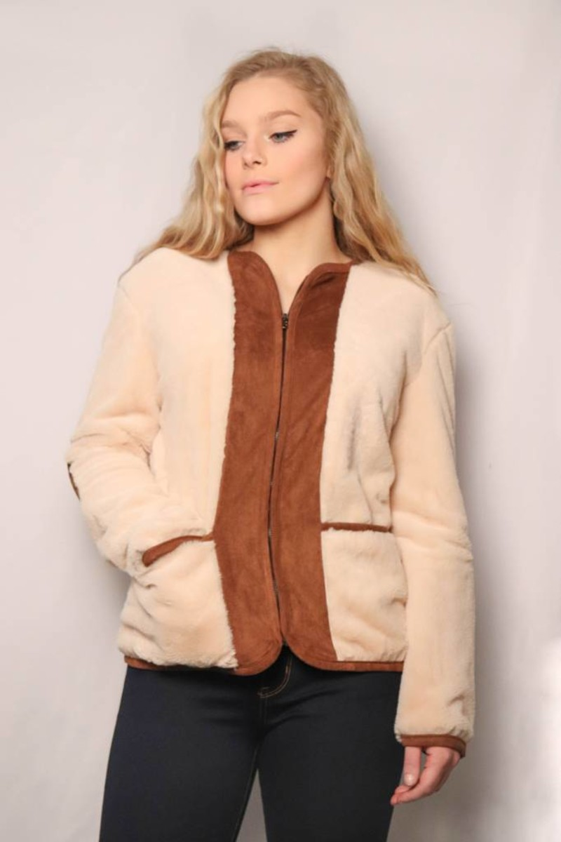 Teddy Bear Fur Jacket/ Cream & Brown