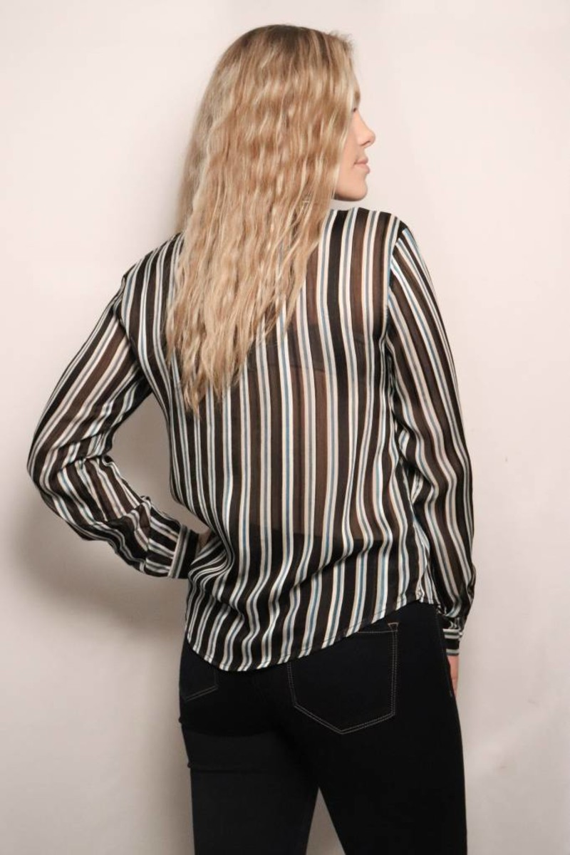 Benny Silky Button Down Stripe Blouse/Black Teal