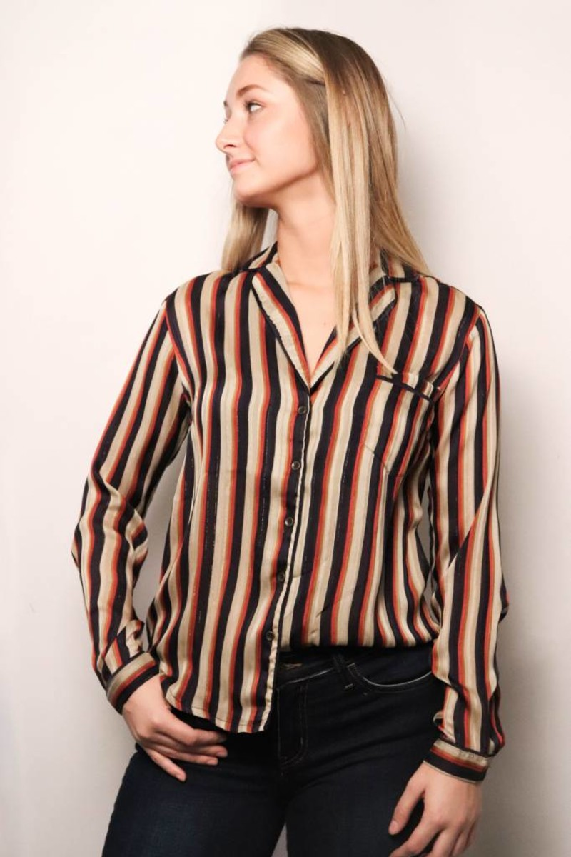 Benny Striped Blouse/ Navy-Cinnamon
