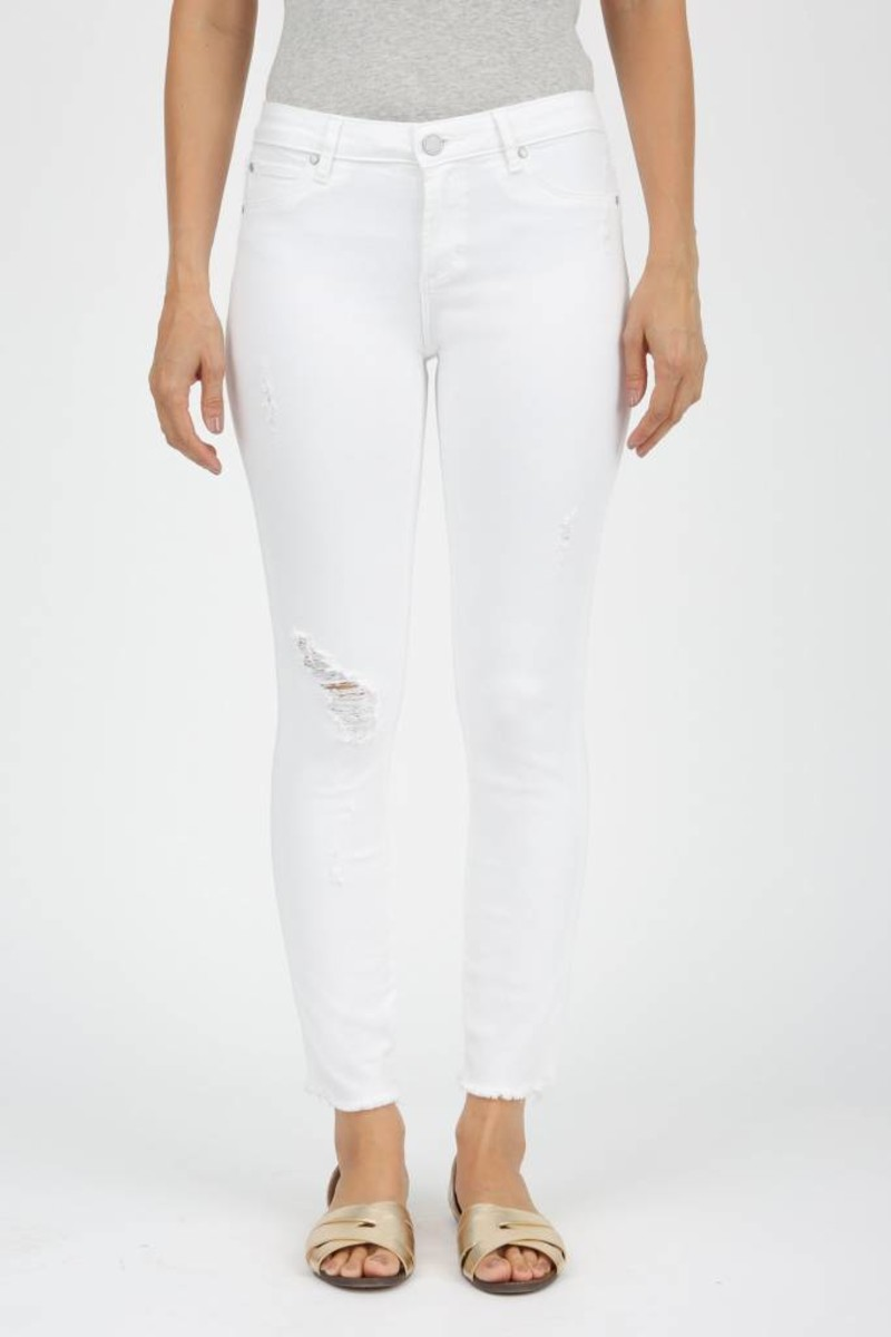 Articles of Society/ Cannes/ Carly Cut Off Hem Jean/White