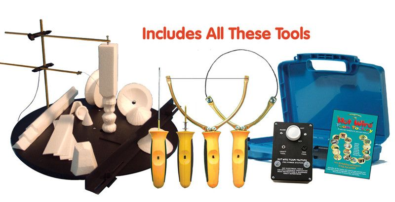 "Hot Wire Foam Factory K49S Pro 5-in-1 Kit (Sculpting Tool, Freehand Router, Engraver & 4"" Hotknife)"