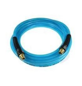 Coilhose Flexeel Hose, 1/4'' x 25', 1/4'' mpt Strain Relief Fittings, Transparent Blue PFE40254T