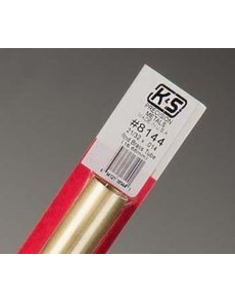 K & S Engineering Brass Tube 21/32''x.014''x12'' #8144