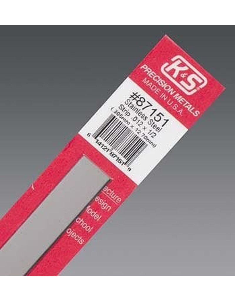 K & S Engineering Stainless Strip .012''x1/2''x12'' #87151