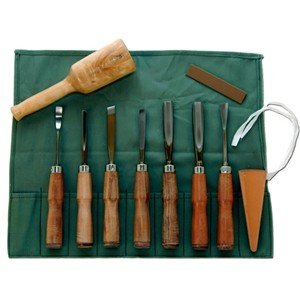 Sculpture House Leather Tipped Handle Wood Carving Set of 10 K3