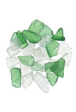 Darice Sea Glass in Mesh Bag - Green and Frosted Clear Mix - 1 lb