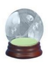 "Just Sculpt 6"" Glass Globe Water Ball W/Dark Wood Base"