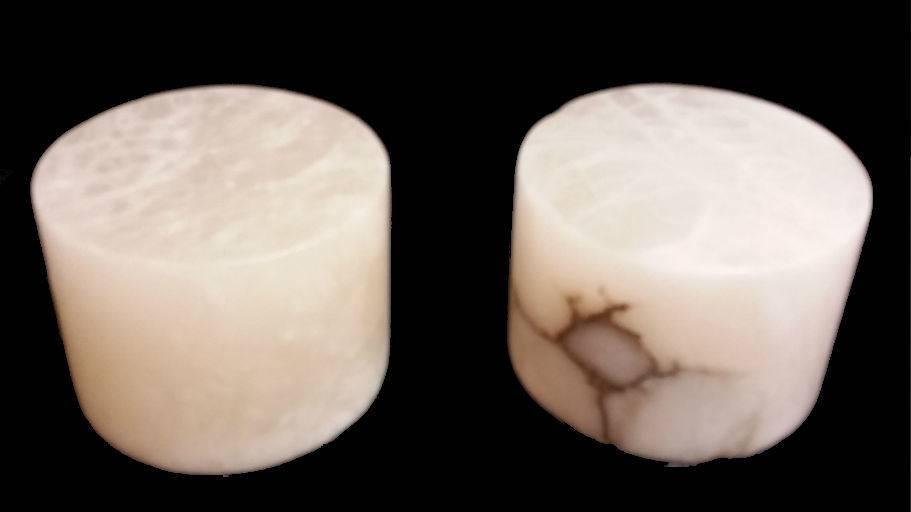 """Stone 5-1/4""""d x 3-1/2""""h White Alabaster Cylinder #221013"""