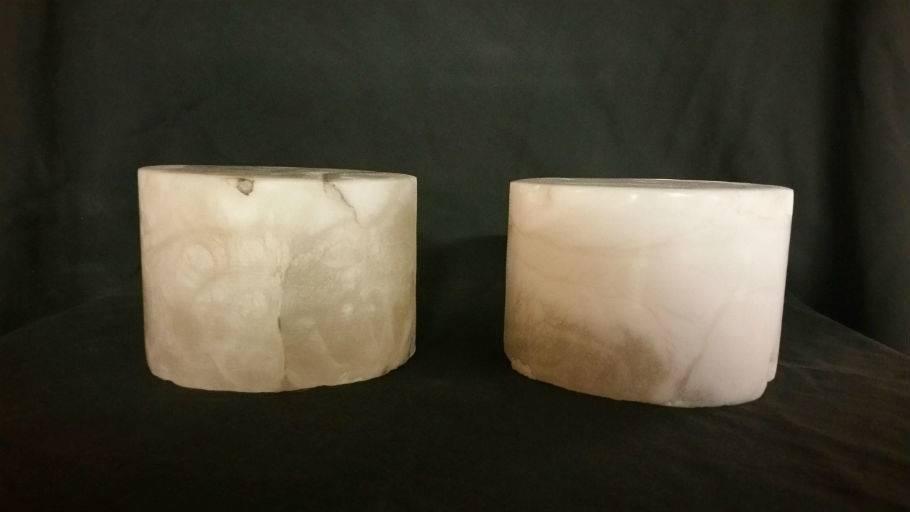 """Stone 5-7/8""""d x 3-4""""h White Alabaster Cylinder #221014"""