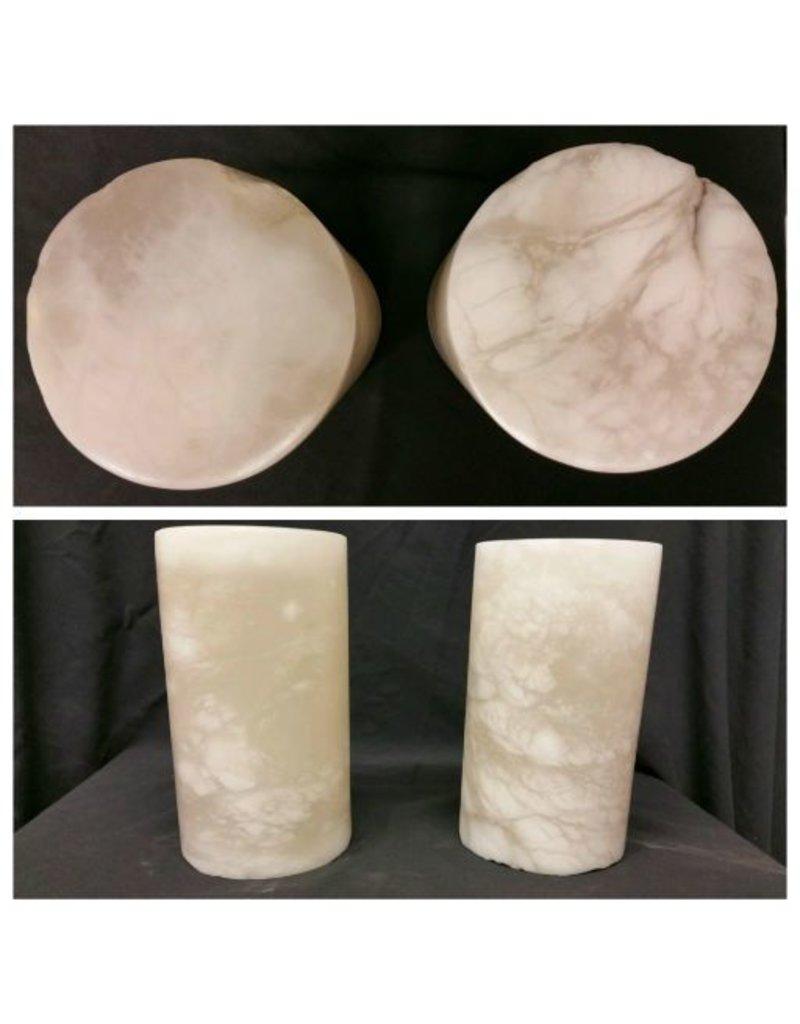 """Stone 4-3/4""""d x 7-1/8""""h White Alabaster Cylinder #221016"""