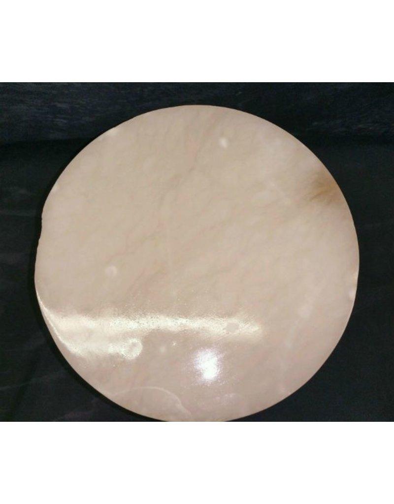 """Stone 9-1/8""""d x 8""""h White Alabaster Cylinder #221017"""