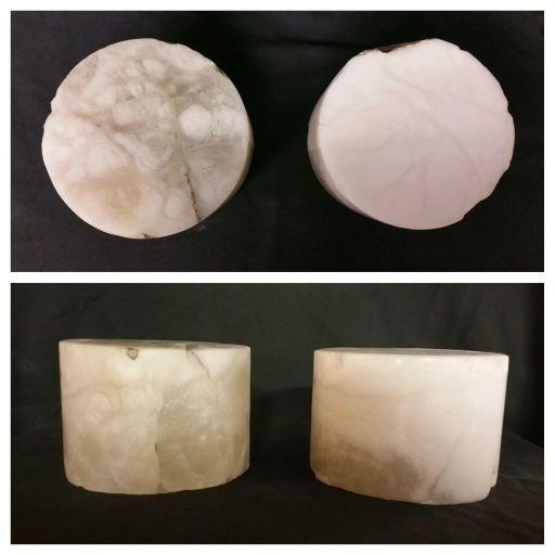 """Stone 4-3/8""""d x 3-1/4""""h White Alabaster Cylinder #221022"""