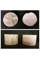 """Stone 4-3/8""""d x 2-1/2""""h White Alabaster Cylinder #221023"""