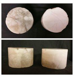 """Stone 4""""d x 3-1/2""""h White Alabaster Cylinder #221027"""