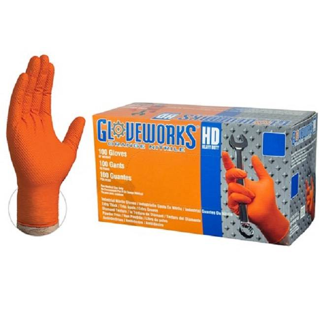 Nitrile HD Orange Gloves Medium Box