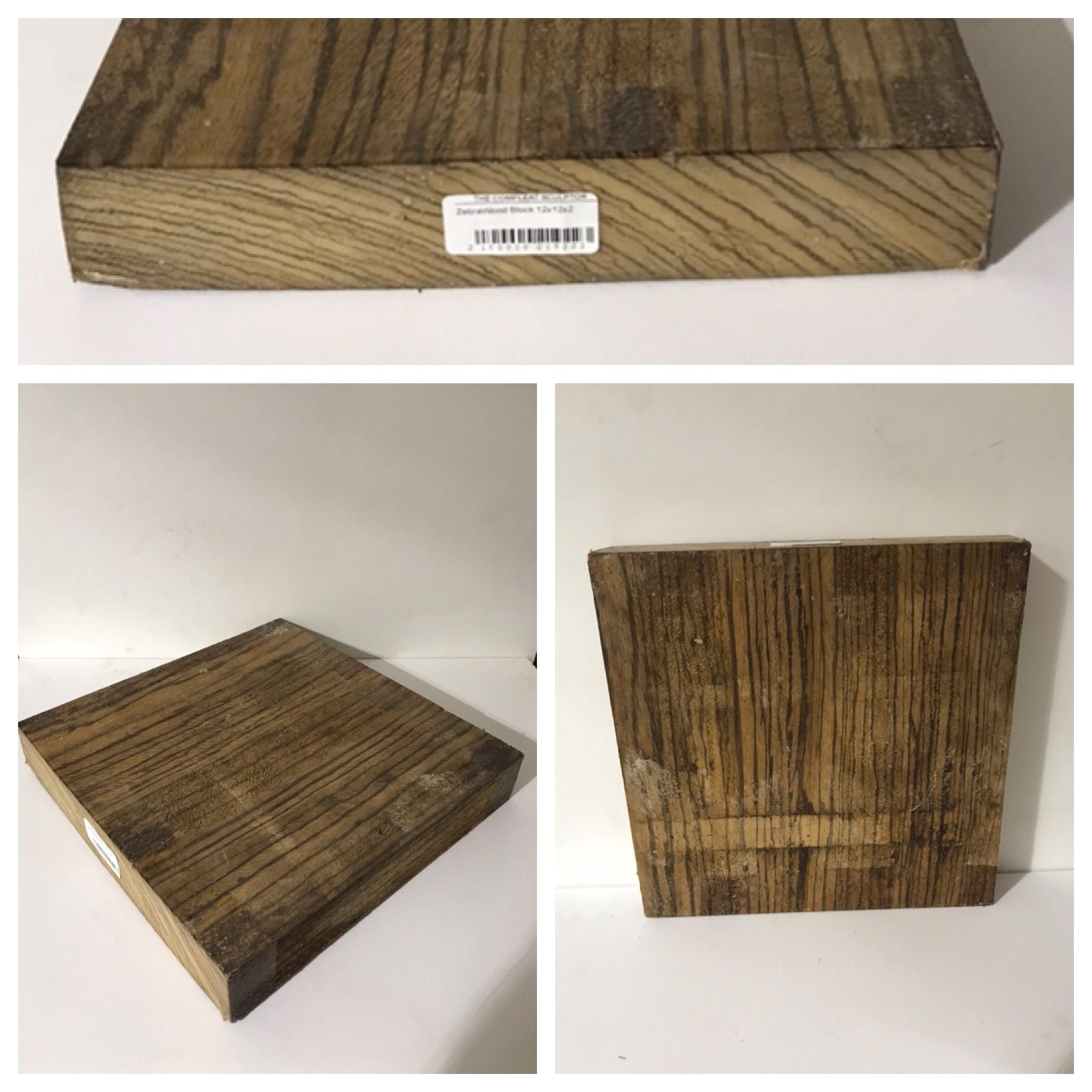 Wood ZebraWood Block 12x12x2