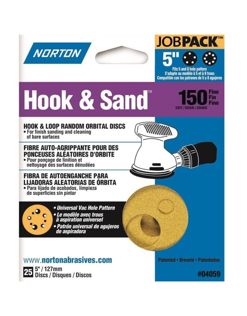 """Norton Hook and Sand 150 grit 5""""x 5 and 8 25 pack"""