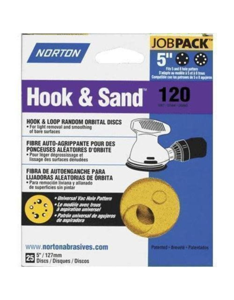 "Norton Hook and Sand 120 grit 5""x 5 and 8 25 pack"