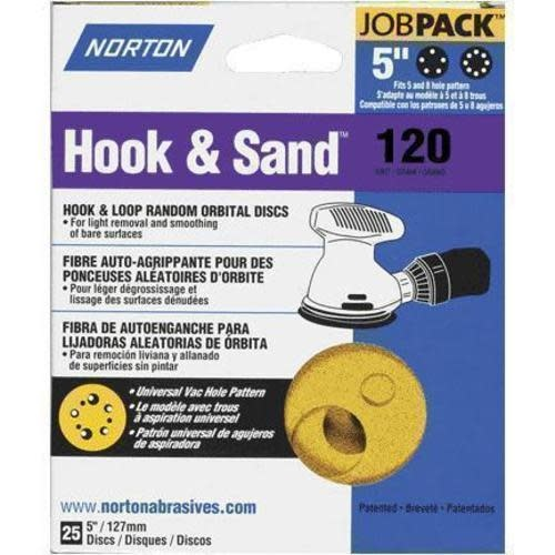 """Norton Hook and Sand 120 grit 5""""x 5 and 8 25 pack"""
