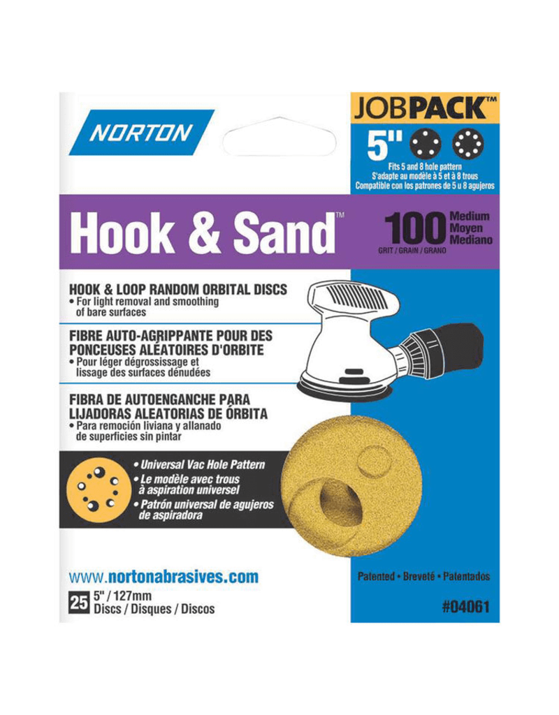 """Norton Hook and Sand 100 grit 5""""x 5 and 8 25 pack"""