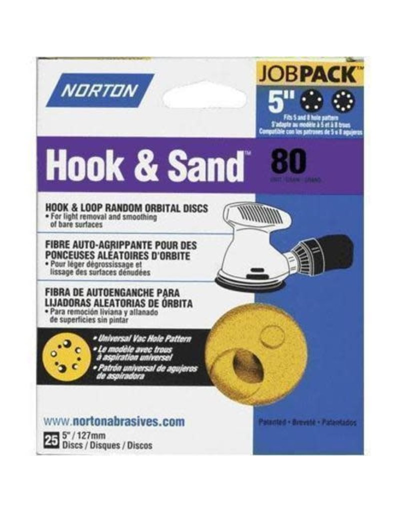 """Norton Hook and Sand 80 grit 5""""x 5 and 8 25 pack"""