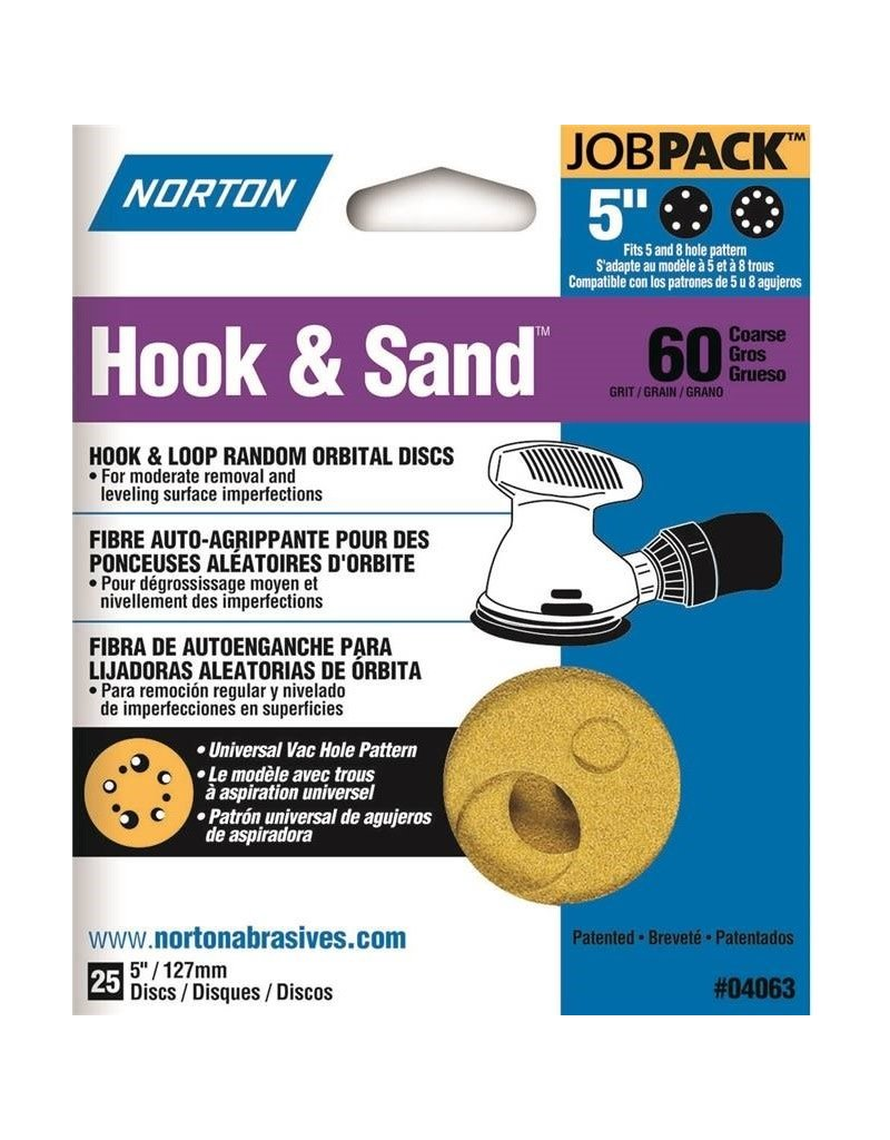"Norton Hook and Sand 60 grit 5""x 5 and 8 25 pack"