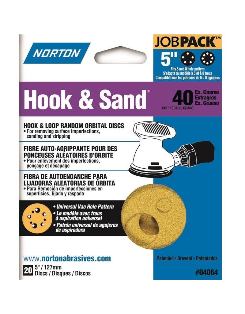 "Norton Hook and Sand 40 grit 5""x 5 and 8 20 pack"